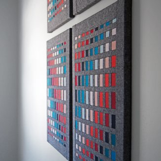 'The Interplay of Opposites' by Mary Pow, cotton and linen fabrics textile wall art