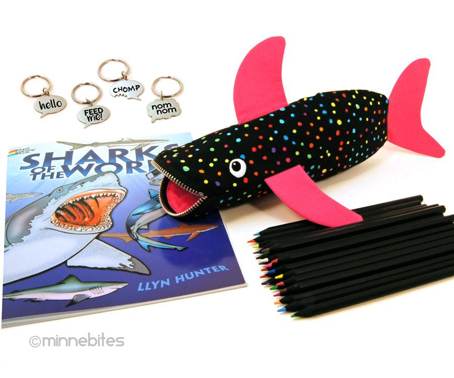MinneBites Shark Bite pencil case and shark gift set