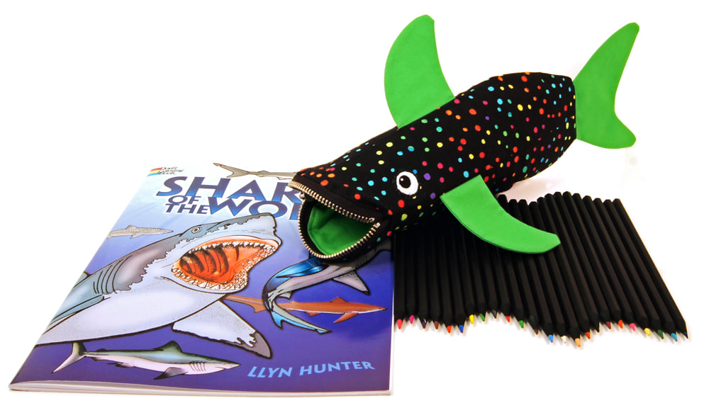 MinneBites Shark Bite pencil case and coloring gift set