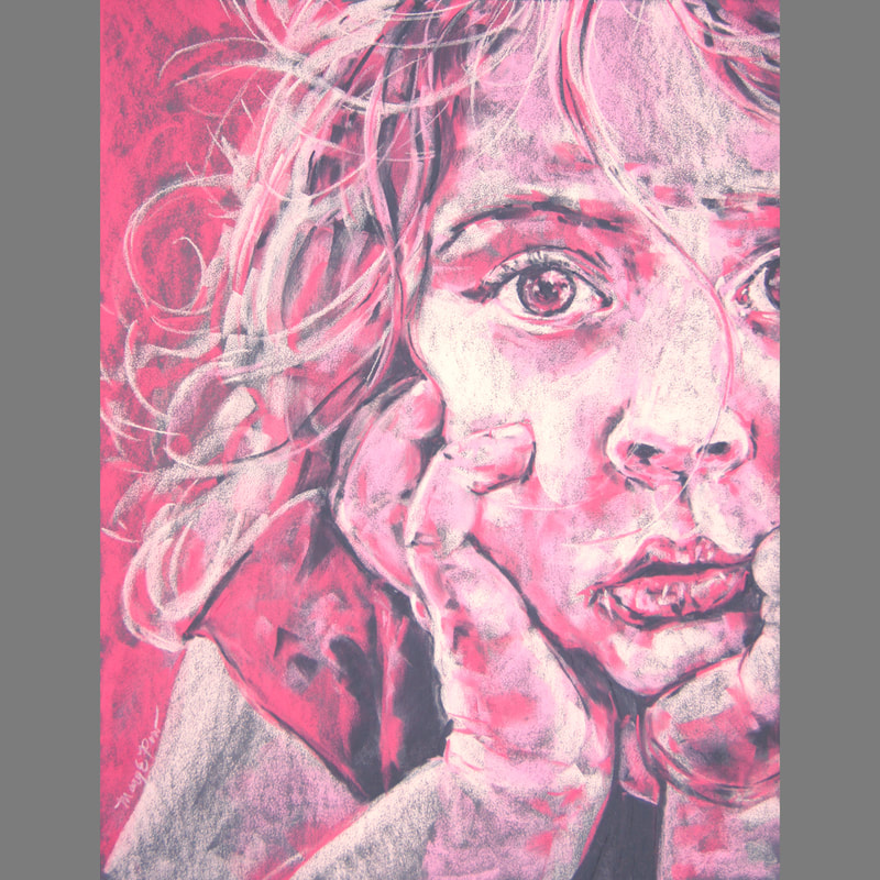 Mary Pow pastel artist portrait art Minneapolis pink and gray portrait of a girl commissions open