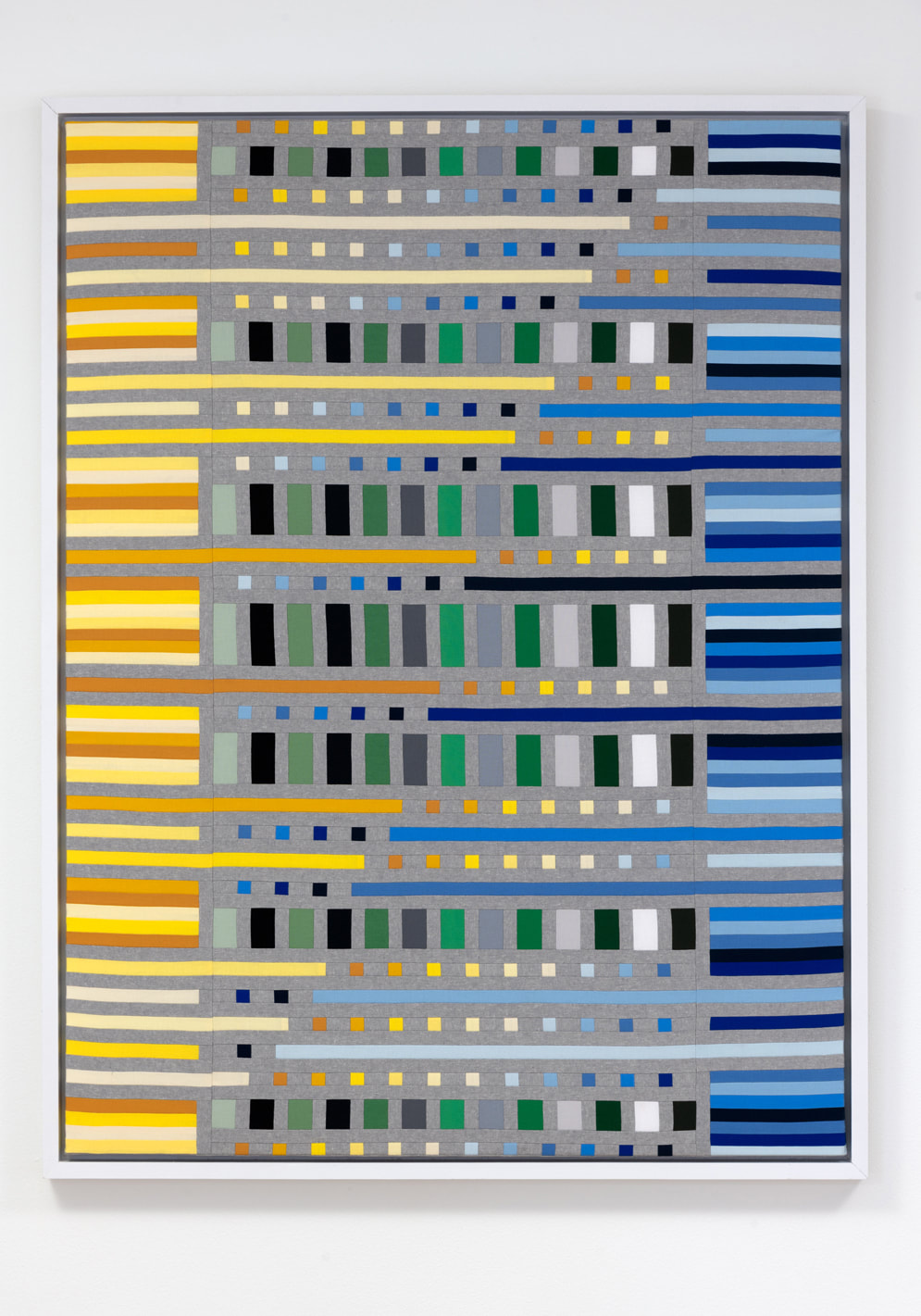 Mary Pow textile artist fiber art The Edge Effect yellow blue modern art sewn fabric
